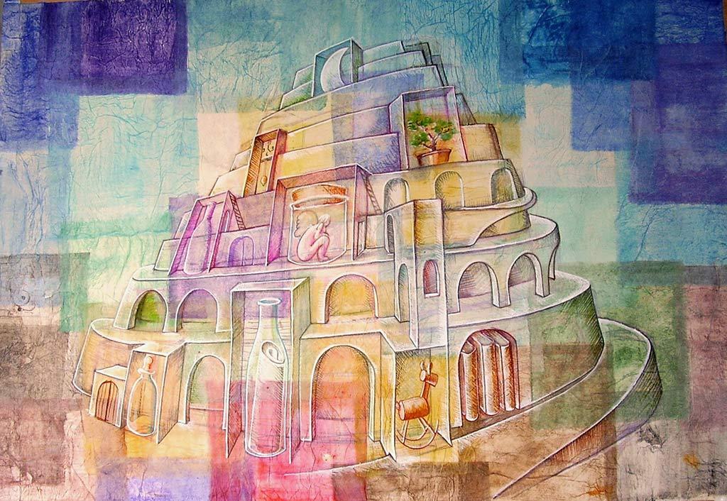 10-piramide-della-memoria-tecnica-mista-di-Alessandro-Pultrone-100x70