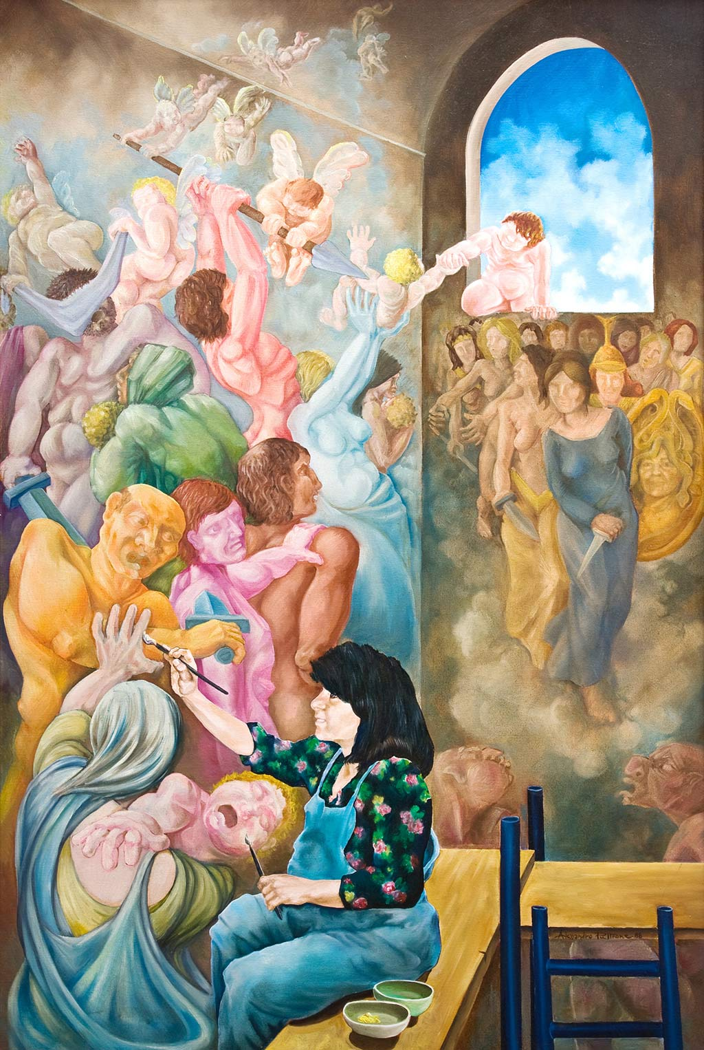 21--il-restauro--1988-100-x-150-di-Alessandro-Pultrone