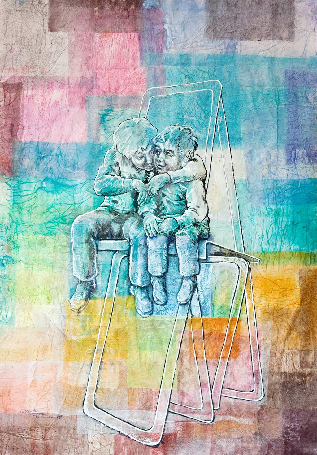 5-FRATELLI-di-A.-Pultrone-2009-tecnica-mista-su-carta-lavorata-70-x100
