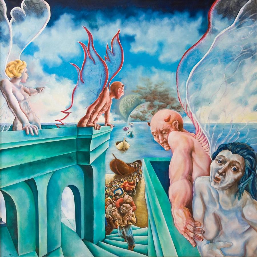Alessandro Pultrone ESODO olio su tela 130 x 130 del 1991