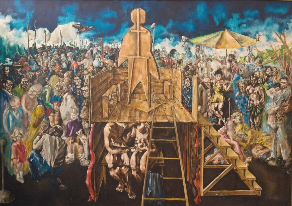 Alessandro Pultrone  IL COMIZIO olio su tela 170x120 del 1978