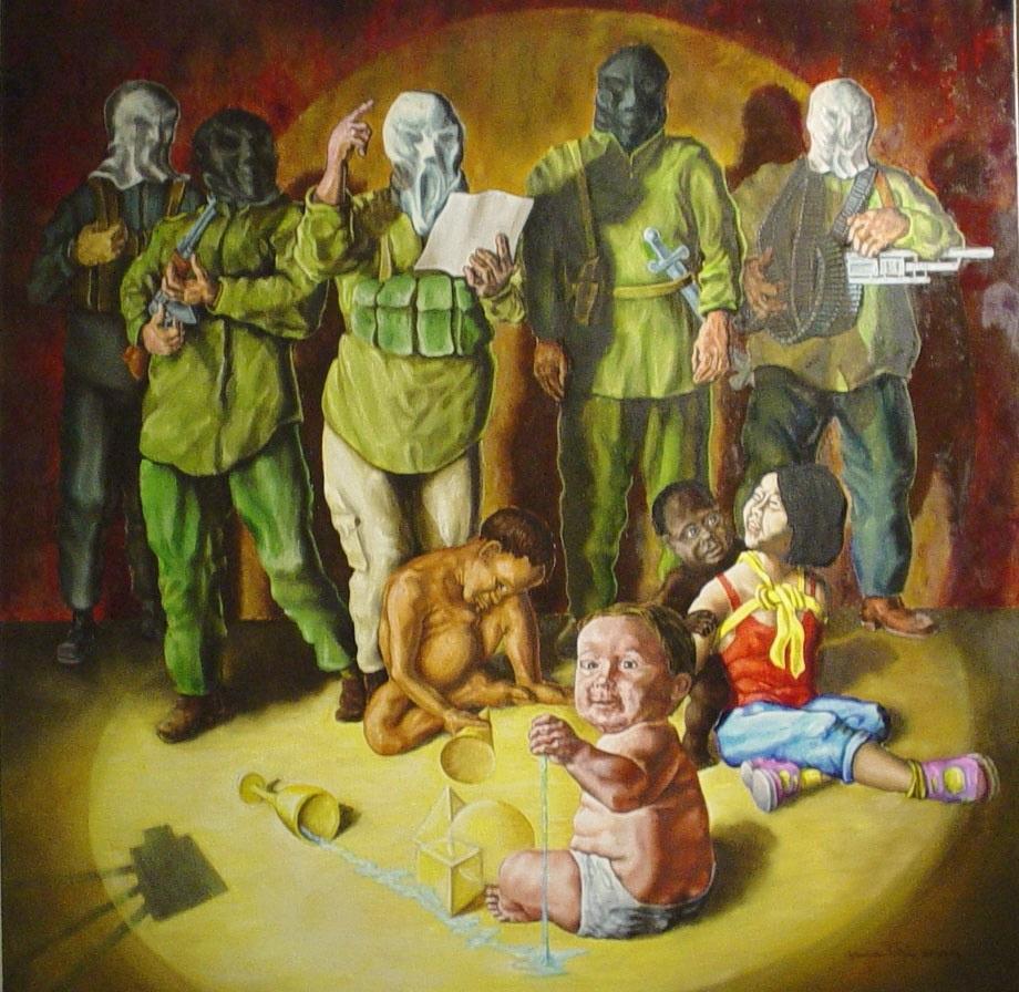 Alessandro Pultrone IL FUTURO IN OSTAGGIO olio su tela 80 x 80 dEL  2004