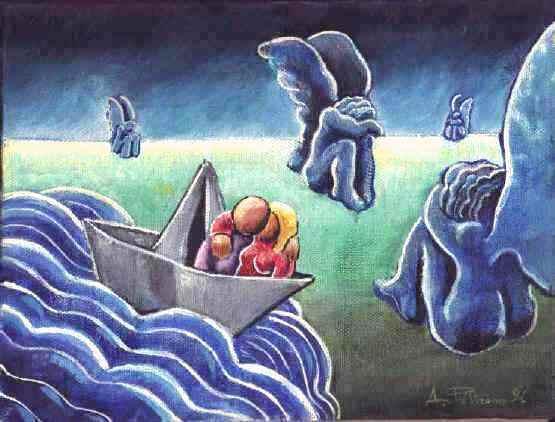 Alessandro Pultrone  INNAMORATI IN BARCA 1996 olio su tela 24 x 18 del 1996