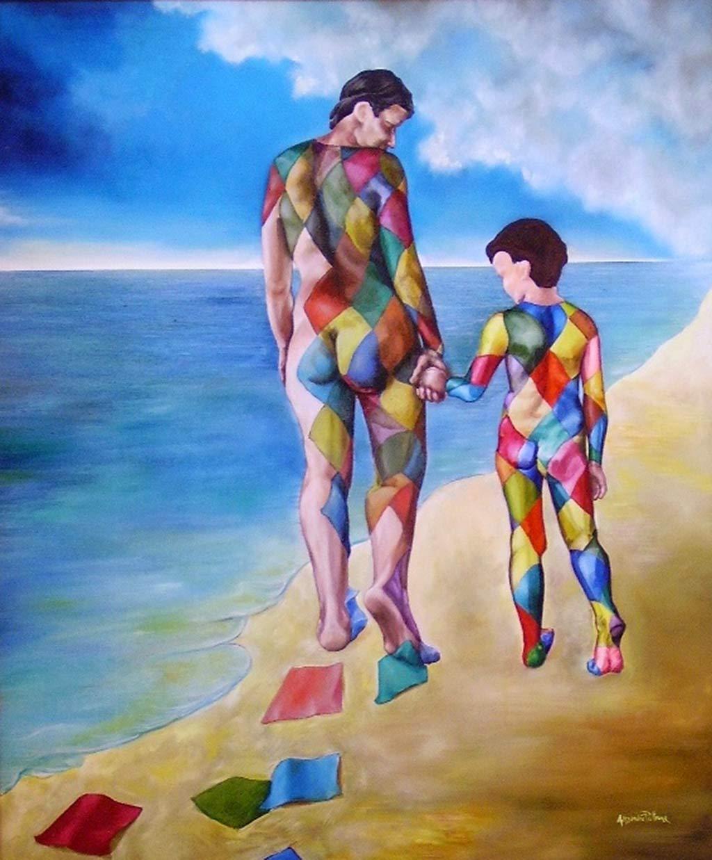 Alessandro-Pultrone-MADRE-con-BAMBINO-olio-su-tela-del-1993-cm.100-x-120