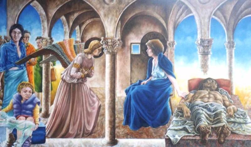 Alessandro Pultrone QUALE ANNUNCIAZIONE olio su tela 100 x 60 del  1999