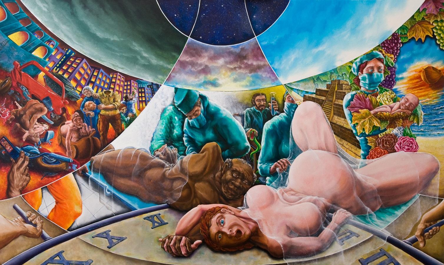 Alessandro Pultrone SALUTE olio su tela 200 x 120 del  2010