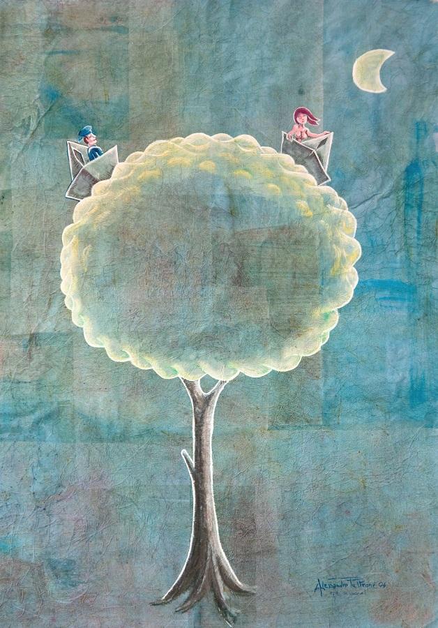 Alessandro Pultrone TUTTI IN MARE 50 x 70 2004